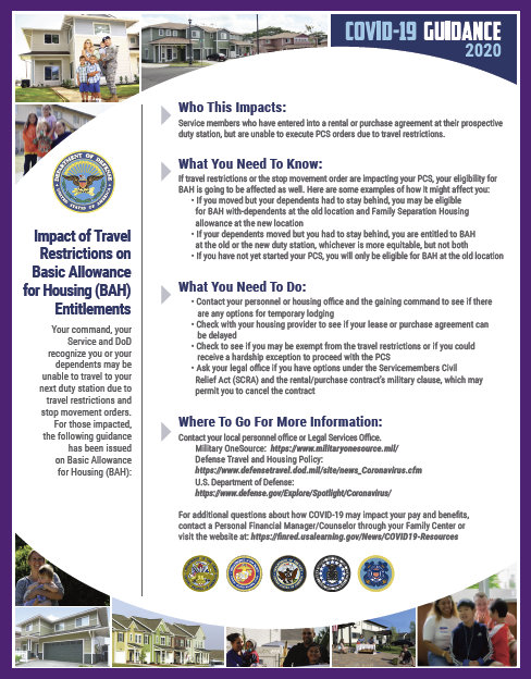 DoD COVID-19, Impact of Travel, Restrictions on Basic Allowance for Housing (BAH) Entitlements